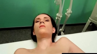 Busty eurobabe jizzed in mouth by doctor