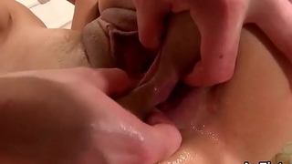Kinky lesbian models are opening up and fist fucking anals
