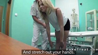 Euro doctor bangs shaved pussy blonde