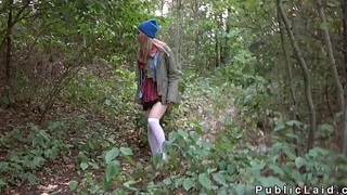 Czech blonde banged big dick outdoor