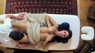 Pretty amateur doggystyled on massage table
