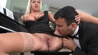 Busty babe combines business less pleasure