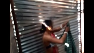 Desi girl maid bathe a exhaust in labour shed new one.. first upload