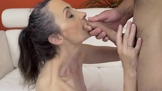 Smalltit mature fucked before facial