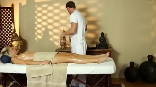 Massage babe gagging on cock while throated