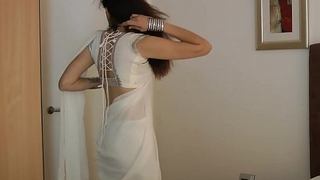 Indian College Girl Jasmine Mathur In White Indian Sari